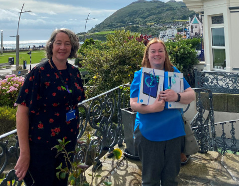 Richella Wood, Wicklow County Council Age Friendly Alliance Programme, and Lorna Lafferty, BAP, delivering the smart devices to a nursing home.